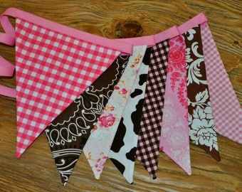 Pink & brown Vintage Cowgirl bandana banner flag bunting, Western, Horse, Barn,Farm, Cowgirl Birthday party decoration cake smash photo prop