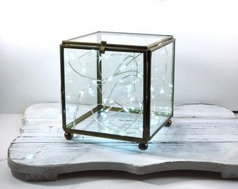 Square Terrarium Glass Box- Brass and Glass Trinket Box- Jewelry Storage