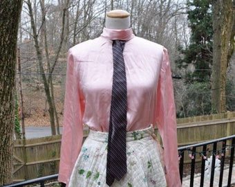 WELCOME SPRING SALE Pink Silk Blouse With Tie Slot/Vintage 1980s 90s/Roll Neck and Neck Tie/Size S M