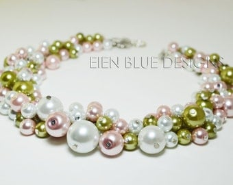White, Pink & Olive Cluster Necklace, Pearl Cluster Jewelry, Pink and Olive Jewelry, Chunky Pearl Necklace, Apple Green and White Necklace
