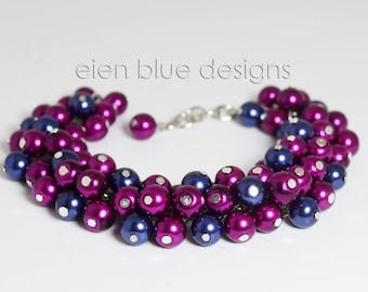 Magenta & Navy Cluster Bracelet, Magenta Pearl Bracelet, Navy Pearl Bracelet, Orchid Pearl Bracelet, Pearl Bracelet, Magenta Chunky Bracelet