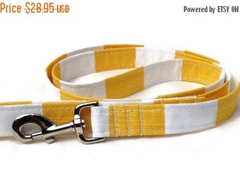 EASTER SALE Cabana Stripe  Dog Leash in Yellow and White  for Small to Large Dogs