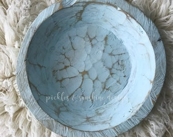 Surf & Sky BLUE SHALLOW Carved wood Newborn Photography posing bowl, Primitive look natural shallow wood bowl/tray, newborn or sitter prop