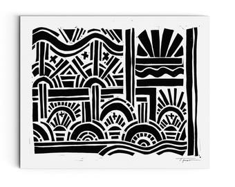 Geometric Arches and Waves - Modern Art - Wall Art - Block Print - Linocut Block Print - Original or Digital Print