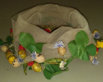 Vintage net hair/bun accessory with floral trim