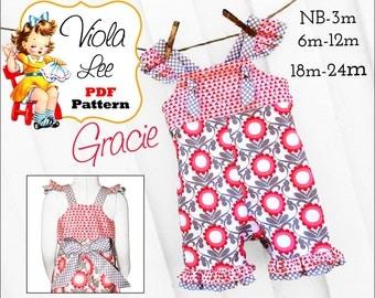 Gracie Girls Romper Pattern, Girls Sewing Pattern, Ruffled Romper Pattern, Baby Romper, Baby Romper pdf Sewing Pattern, Long, Short Romper