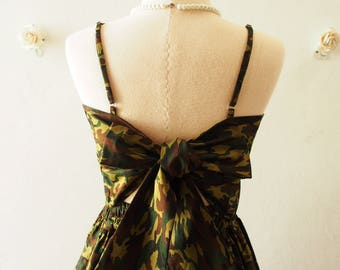 Crop Top and Skirt Set Camo Green Summer Party Style Fashion Special Occasion Backless Self-Tied Bow Vintage Style -S-M (US4-US6)