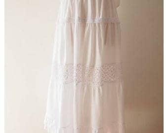 """Clearance SALE Maxi Skirt White Boho Bohemian Skirt Long Skirt length 35"""""""