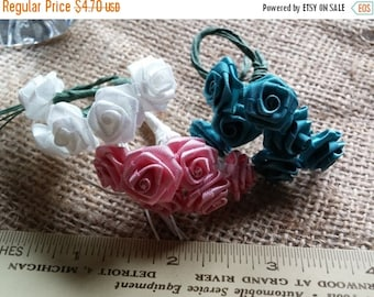 Year End Sale Vintage Silk Flowers, 1/2 in Flower on a 3.5in Wrapped Stem, Sparkly White, Mauve ,and  Dark Turquoise Green You Will Recieve