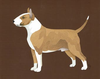 Bull Terrier (Colored) handmade original cut paper collage dog art all colors available