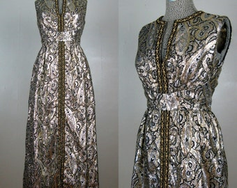 Vintage Late 1960s Dress 60s Opulent Gold Silver and Black Paisley Lurex Brocade Gown by Kent Originals Size M