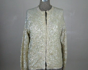 Vintage 1960s Sequin Sweater 60s Off White Opalescent Sparkling Cardigan Size M