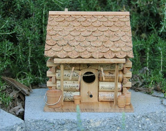 Log Cabin birdhouse, wine cork art