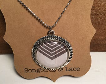 Grey & white Pendant necklace on silver setting- 30mm