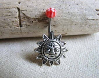 Sun Belly Button Jewelry  - Non Dangle Belly Bar, Sunny Navel Piercing, Silver Bellybutton Ring, Short Belly Button Rings