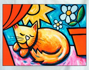 Sleeping Cat Small Canvas Wall Art 6x8x1.5 in.