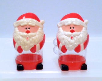 Santa Claus Mugs Vintage Hard Plastic Red and White Santa Cups Removable Top Head Hole for Straw Handles Hong Kong Clear Plastic 1950s 1960s