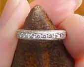 Art Deco Vintage Deco .20 Ct Diamonds Platinum Engagement Ring Wedding Band Stacker band Wheat design