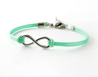 Infinity Bracelet, Mint Green Cord Bracelet, Endless Charm Bracelet, Friendship Bracelet
