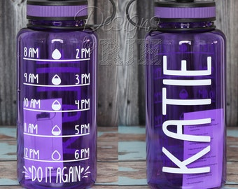 Personalized 34oz Tritan Sports Water Bottle with Hourly Reminder Times
