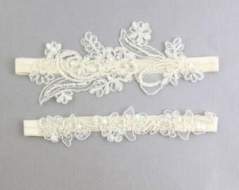 Wedding Garter Set, Ivory Beaded Lace Wedding Garter Set, Navy Lace Garter Set, Toss Garter , Wedding Garter Belt/ GT-65