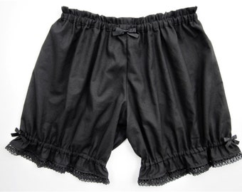 Womens Bloomers Black Cotton with Lace