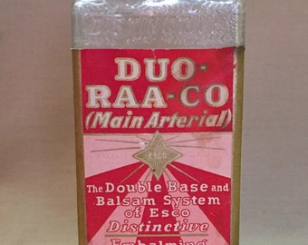 C. 1930's Art Deco Embalming Bottle- Duo-Raa-Co; Embalmers Supply Co.- ESCO