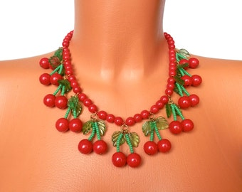 Vintage 1950s Glass Cherry Necklace, Retro PinUp Jewellery, Rockabilly