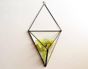 Wall Art Prism, Wall Decor, Hanging planter, Vertical Garden, Glass Geometric Plant Holder, Glass Terrarium