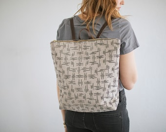 Screen printed linen backpack leather straps