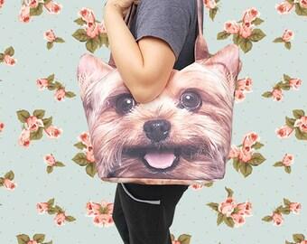 Yorkshire terrier Dog tote, pet tote, dog print bag, dog portrait bag, dog bag, pet portrait bag, pet lover bag, BT 1172