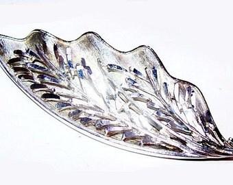 """Coro Silver Leaf Brooch Signed Laser Cut Design High End BIG 3 1/4"""" Vintage"""