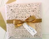 for Breanna - 50 Blush Pink Laser Cut Wedding Invitations