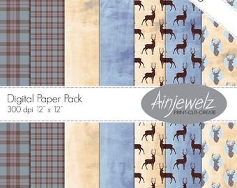 Outlander Paper DOWNLOAD, Fraser tartan paper, plaid printable, stag printable, deer scrapbook paper,scotland paper, Scottish download