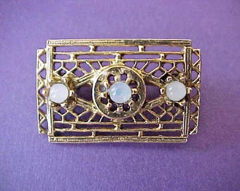 """Charming Little Edwardian Era Brooch with Opalescent Glass """"Stones"""""""