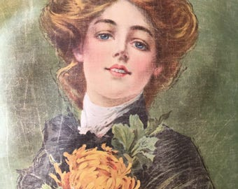 Stunning Edwardian Lithograph on Linen of Beautiful Lady by Campbell, Metzger & Jacobson