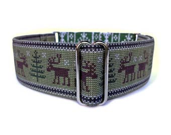 Woodland Moose Sweater Dog Collar - 1 inch or 1.5 inch Adjustable Moose Martingale or Buckle Dog Collar