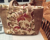 Everyday Tote Bag, Soft Tan imitation leather, Burgundy, brown, green floral print