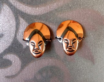 Vintage copper Buddha clip on earrings