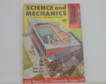 Science and Mechanics Magazine, October 1954 - Great Condition - Fascinating Articles, Hundreds of Vintage Ads