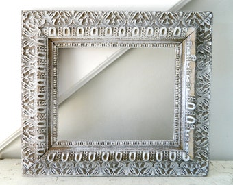 Vintage White Frame Wood Rustic Ornate Shabby Chic Distressed 8x10
