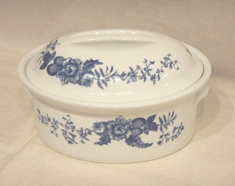 """Royal Worcester Rhapsody Oval Covered Casserole Covered Baking Dish White Porcelain-Blue Floral 9 1/8"""" X 7"""""""