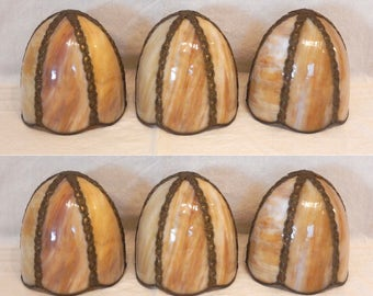 3 Slag Glass Curved Lamp Light Shade Hanging Drop Pendant 6-Panel Caramel Swirl Metal Strip Antiqued Brass Color 5 1/2""