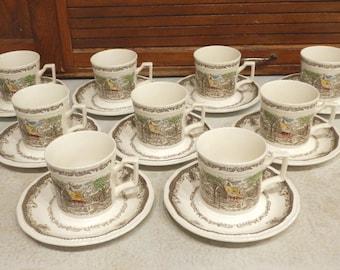 9 Cup-Saucer Sets Shakespeare's Sonnets Spring VI Kensington Staffords Ironstone R2815 England 18-pcs Coffee Tea Mug