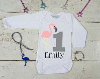 First Birthday Bodysuit-Custom Birthday Outfit-Flamingo Birthday-Cute First Birthday Bodysuit - Girl's Birthday Outfit - 1st Birthday Party