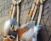 Metal Hoop Fringe Feather Earrings