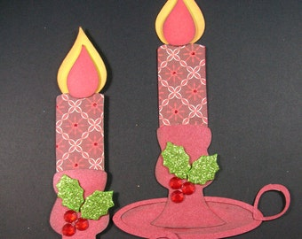 Candle Christmas Embellishment/tag/Paper piecing, Set of 2