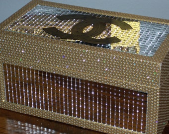 French Inspired Gold Stone and Mirrored Decorative Storage Box Jewelry Box