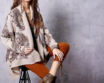 Women's Autumn New Jarquard Warm Cardiagn Vintage Scarf Collar Batweing Sleeve Soft Knitwear