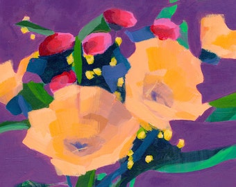 original acrylic painting on birch wood panel, deep purple sets off orange flower bouquet